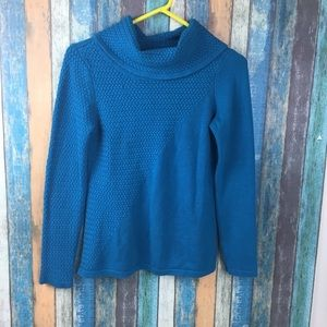 White House Black Market Blue Scoop Neck Sweater